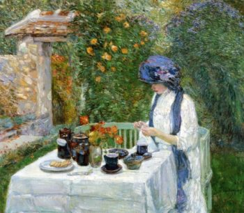The Terre Cuite Tea Set (also known as French Tea Garden) | Frederick Childe Hassam | oil painting