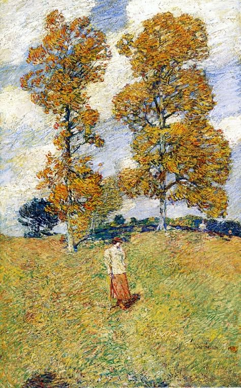 The Two Hickory Trees (also known as Golf Player) | Frederick Childe Hassam | oil painting