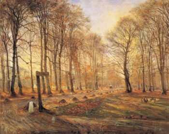 A Late Autumn Day in Dyrehaven Sunshine | Theodor Philipsen | oil painting