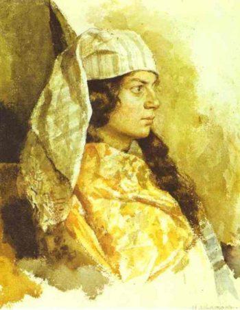 Jewish Woman in an Oriental Shawl 1884   Isaac Ilich Levitan   oil painting