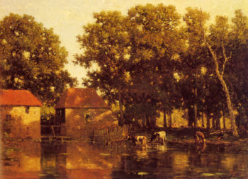 A Sunlit River Landscape With Cows Watering | willem roelofs | oil painting