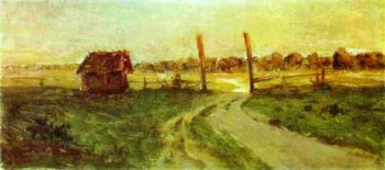 Landscape with an Izba Sketch 1899   Isaac Ilich Levitan   oil painting