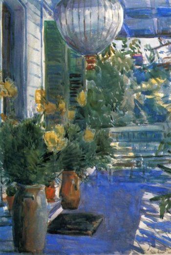 Veranda of the Old House | Frederick Childe Hassam | oil painting