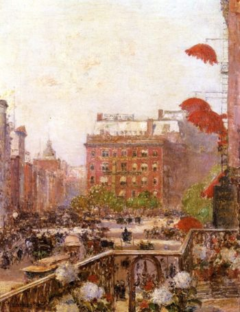 View of Broadway and Fifth Avenue | Frederick Childe Hassam | oil painting