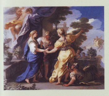 Psyche's Sisters Giving Her A Lamp And Dagger | Luca Giordano | oil painting