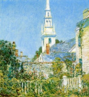 White Church at Newport (also known as Church in a New England Village) | Frederick Childe Hassam | oil painting