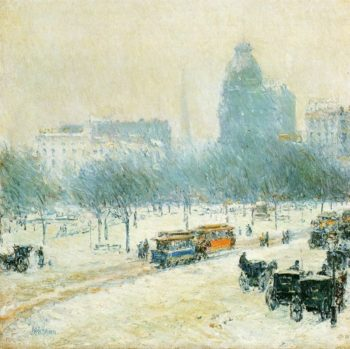 Winter in Union Square | Frederick Childe Hassam | oil painting