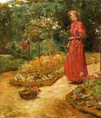 Woman Cutting Roses in a Garden | Frederick Childe Hassam | oil painting