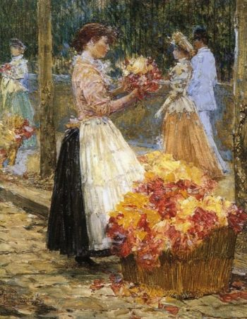 Woman Sellillng Flowers | Frederick Childe Hassam | oil painting
