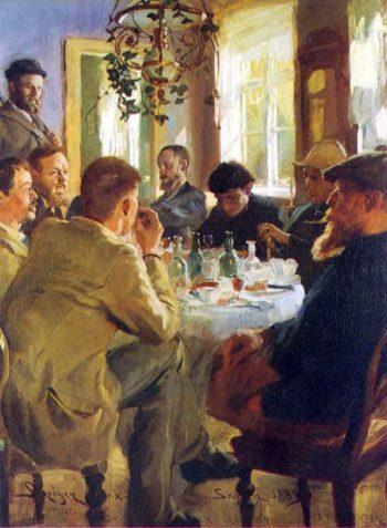 Almuerzo con pintores de Skagen | Peder Severin Kroyer | oil painting