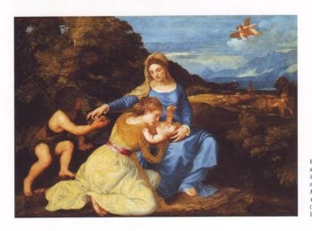 The Virgin And Child With The Infant St John And A Female Saint Or Donor | Titian | oil painting