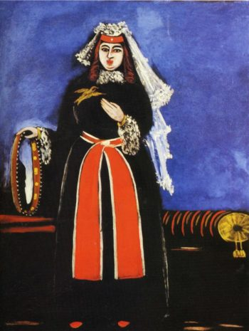 A Georgian Woman with Tamboreen 1906 | Niko Pirosman | oil painting