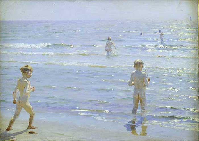 Bano de muchachos   Peder Severin Kroyer   oil painting
