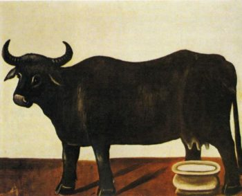 Black Buffulo on a White Background | Niko Pirosman | oil painting