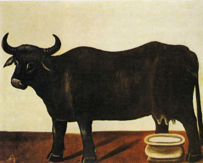 Black Buffulo on a White Background | Niko Pirosman | oil painting