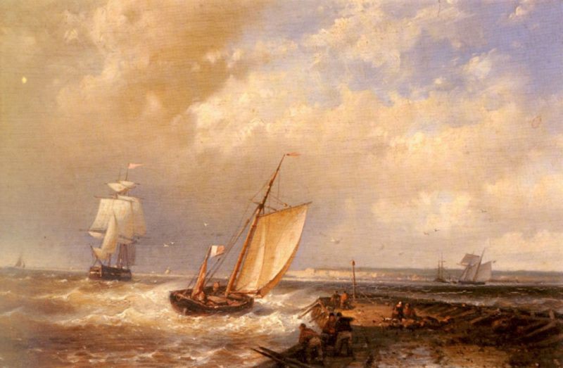 A Dutch Pink Heading Out To Sea With Shipping Beyond   Abraham Hulk Snr   oil painting