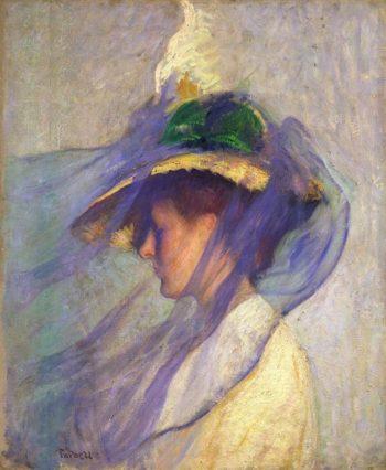 The Blue Veil | Edmund Tarbell | oil painting