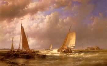 Dutch Barges At The Mouth Of An Estuary | Abraham Hulk Snr | oil painting