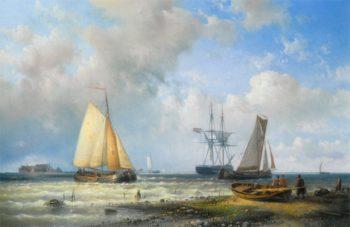 Dutch Barges in a Calm | Abraham Hulk Snr | oil painting