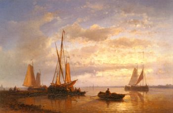 Dutch Fishing Vessels In A Calm At Sunset | Abraham Hulk Snr | oil painting