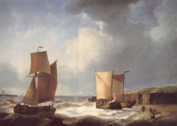 Fisherfolk and Ships by the Coast | Abraham Hulk Snr | oil painting