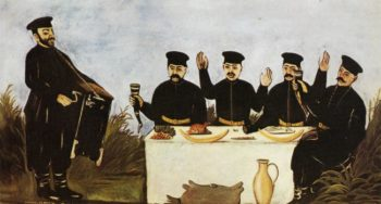 Feast with Barrel Organist Datico 1906 | Niko Pirosman | oil painting