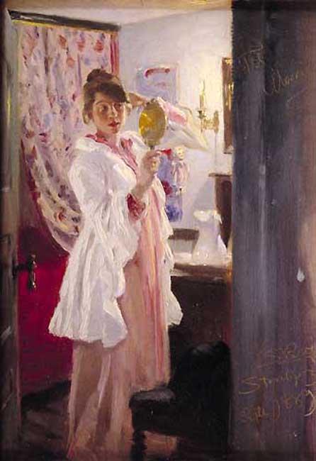 Marie en el espejo | Peder Severin Kroyer | oil painting