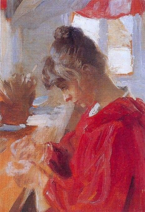 Marie en vestido rojo   Peder Severin Kroyer   oil painting