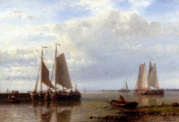 Shipping In A Calm Estuary | Abraham Hulk Snr | oil painting