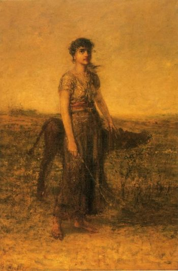 Girl and Calf   George Fuller   oil painting