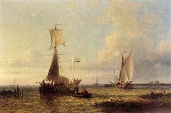 Shipping In A Calm | Abraham Hulk Snr | oil painting