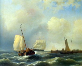 Skirting the Coast on a Breezy Day | Abraham Hulk Snr | oil painting