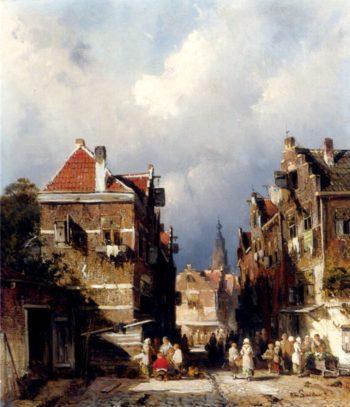 A Dutch Street Scene | Charles Henri Joseph Leickert | oil painting