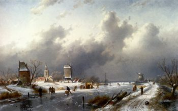 A Frozen Winter Landscape With Skaters | Charles Henri Joseph Leickert | oil painting