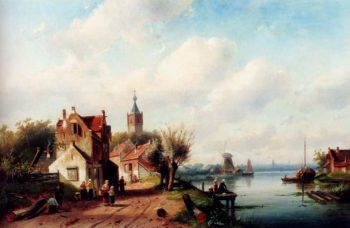 A Village Along A River A Town In The Distance | Charles Henri Joseph Leickert | oil painting