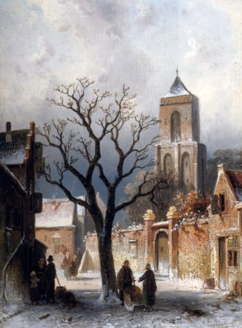 A Village Snow Scene | Charles Henri Joseph Leickert | oil painting