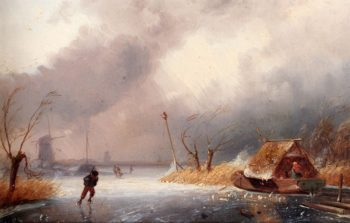 A Winter Landscape With Skaters On A Frozen Waterway | Charles Henri Joseph Leickert | oil painting