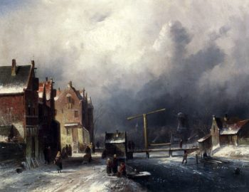 Figures In A Dutch Town By A Frozen Canal | Charles Henri Joseph Leickert | oil painting