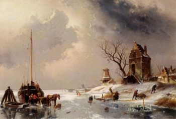 Figures Loading A Horse Drawn Cart On The Ice | Charles Henri Joseph Leickert | oil painting