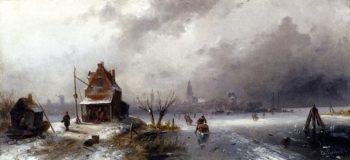 Figures On A Frozen Lake | Charles Henri Joseph Leickert | oil painting