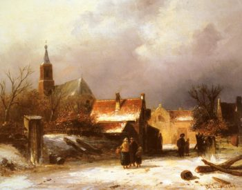 Figures on a Snow Covered Path with a Dutch Town beyond | Charles Henri Joseph Leickert | oil painting