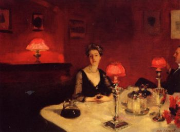 A Dinner Table at Night (also known as Mr. and Mrs. Albert Vickers) | John Singer Sargent | oil painting