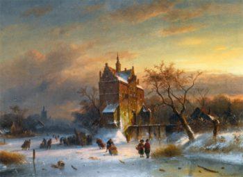 Skaters Near A Castle | Charles Henri Joseph Leickert | oil painting