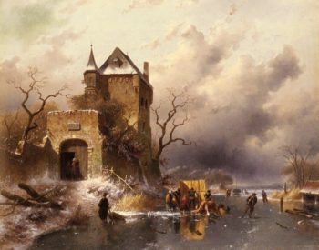 Skaters on a Frozen Lake by the Ruins of a Castle | Charles Henri Joseph Leickert | oil painting