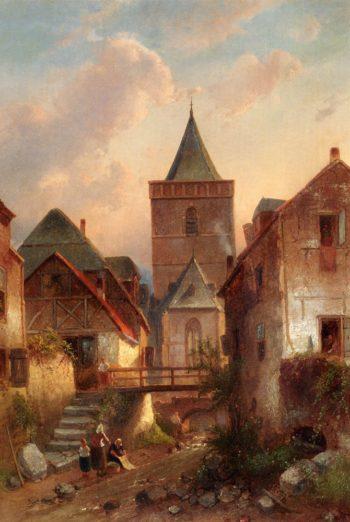 View In A German Village With Washerwomen | Charles Henri Joseph Leickert | oil painting