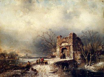 Villagers On A Frozen Path | Charles Henri Joseph Leickert | oil painting