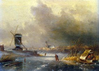 Winter Landscape with Skaters on a Frozen River | Charles Henri Joseph Leickert | oil painting