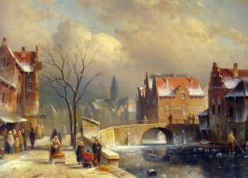 Winter Villagers on a Snowy Street by a Canal | Charles Henri Joseph Leickert | oil painting