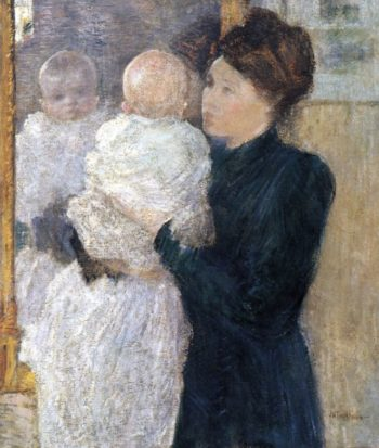 Mrs. Mother and Child | John Twachtman | oil painting