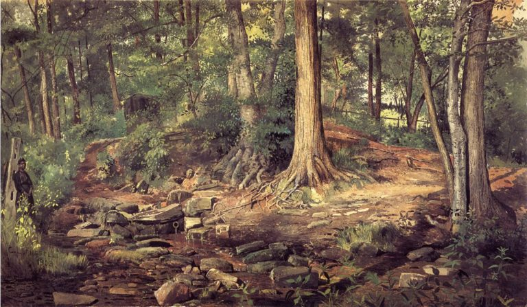 Young Girl at Forest Spring | Charles Lewis Fussell | oil painting